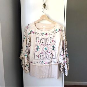 Chico's embroidered boho loose fit blouse